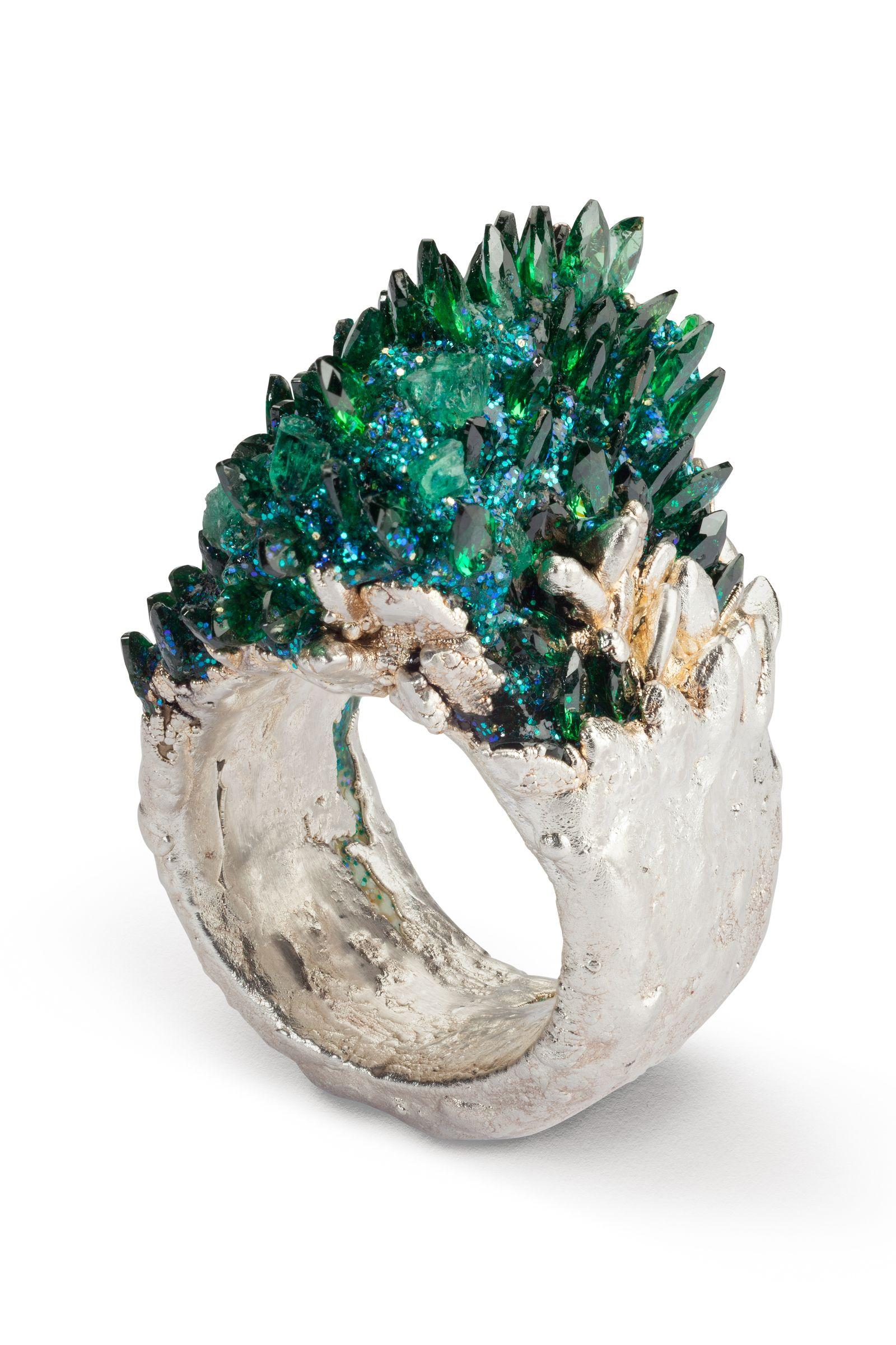 Maud Traon Precious Metals Cast ring encrusted with precious