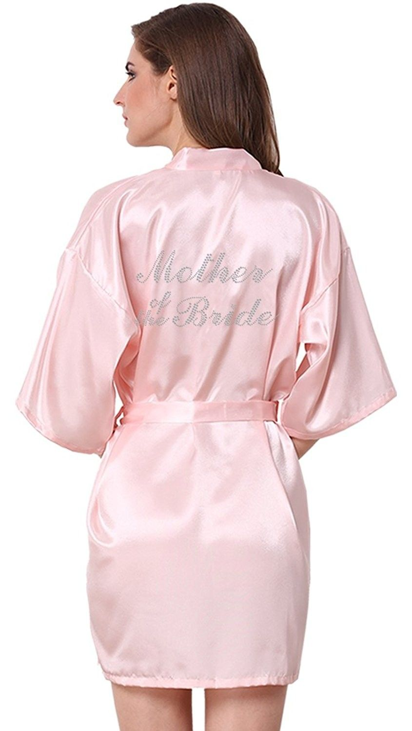 Wedding Party Satin Kimono Bride Bridesmaid Robes With Rhinestone ... 3393e3323