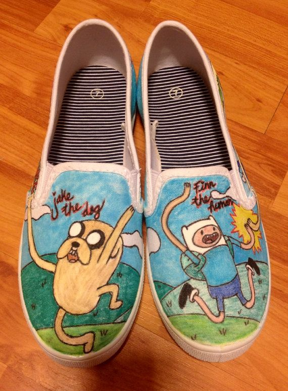 Adventure Time custom vans.  on Etsy, $115.00