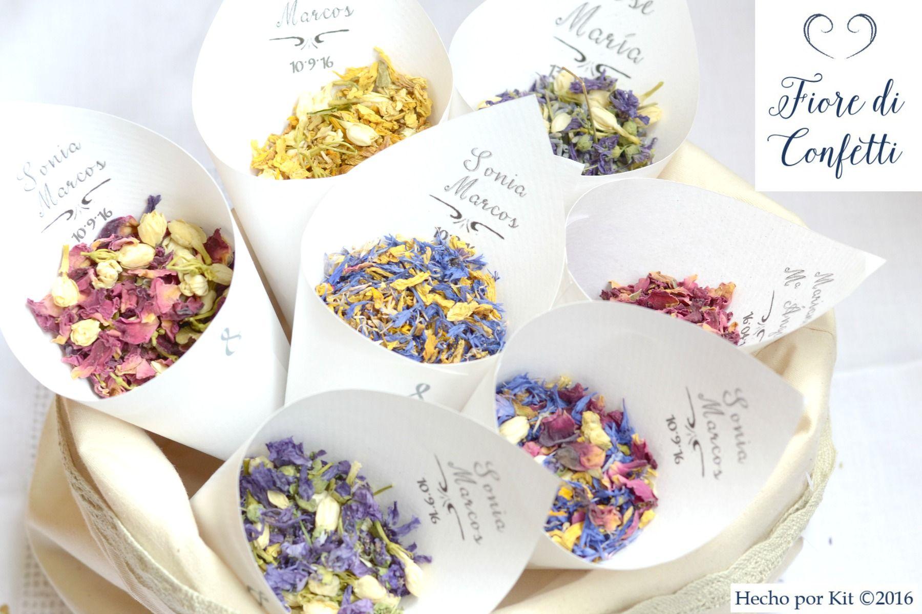 "Confeti de flores para bodas bonitas. ¿En qué color te casas? Un ""Fiore di confetti"" para cada tipo de boda."