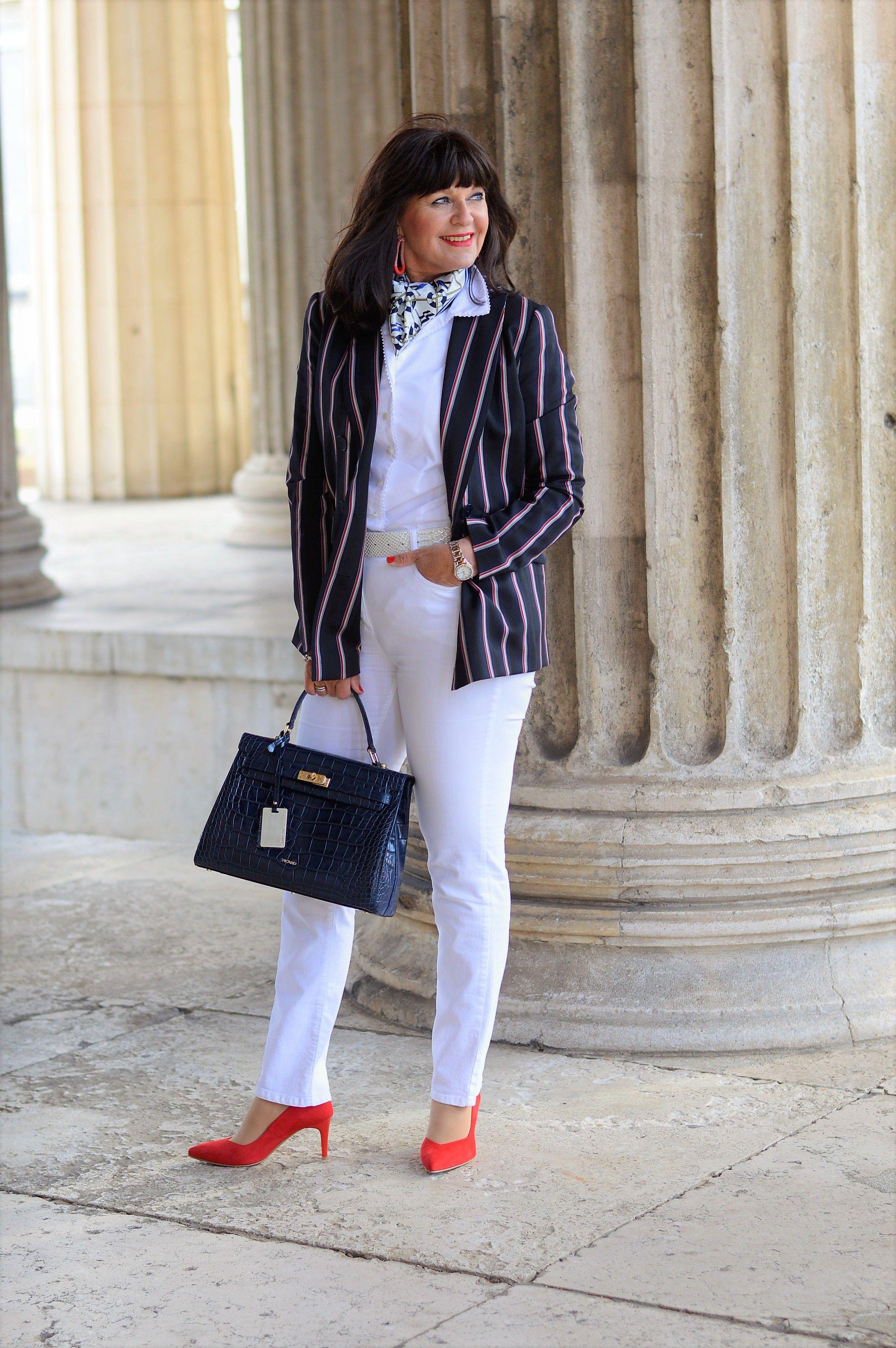 Sommerlook - Maritim | Weiße jeans, Modestil, Maritimer look