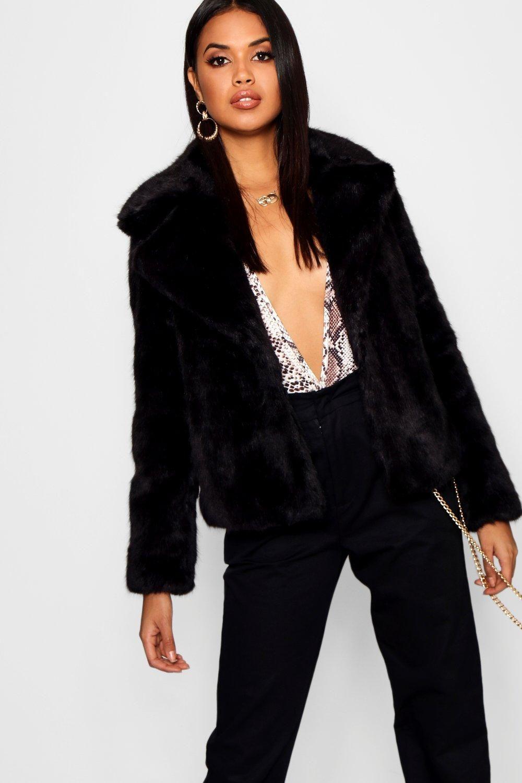 Womens Luxe Faux Fur Coat Long Faux Fur Coat Black Faux Fur Coat Faux Fur Cropped Jacket