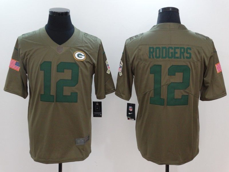 Men Green Bay Packers 12 Rodgers Nike Olive Salute To Service Limited NFL  Jerseys c48862336