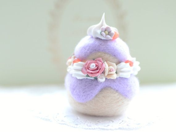 Soft sculpture cake ornament needle felted wool