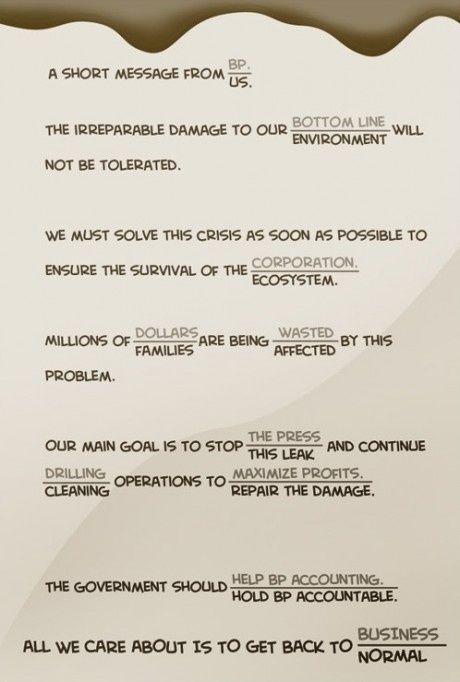 En kort besked fra BP / US