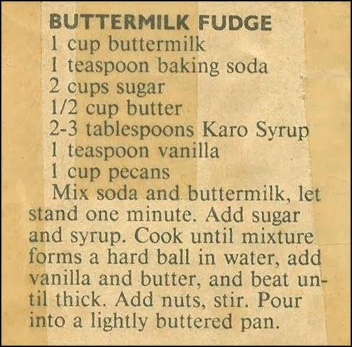 Roots From The Bayou: Family Recipe Friday ~ Buttermilk Fudge