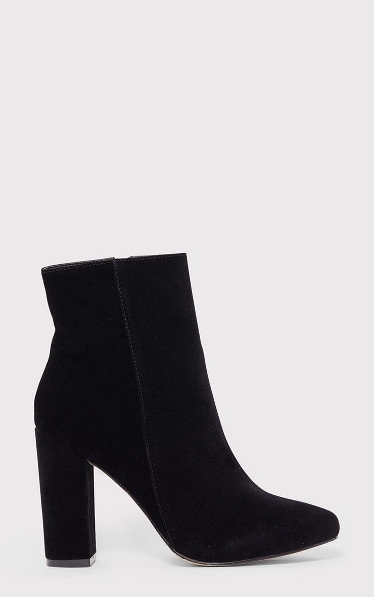 Behati Black Faux Suede Ankle Boots Image 1 | Pretty Little Things ...