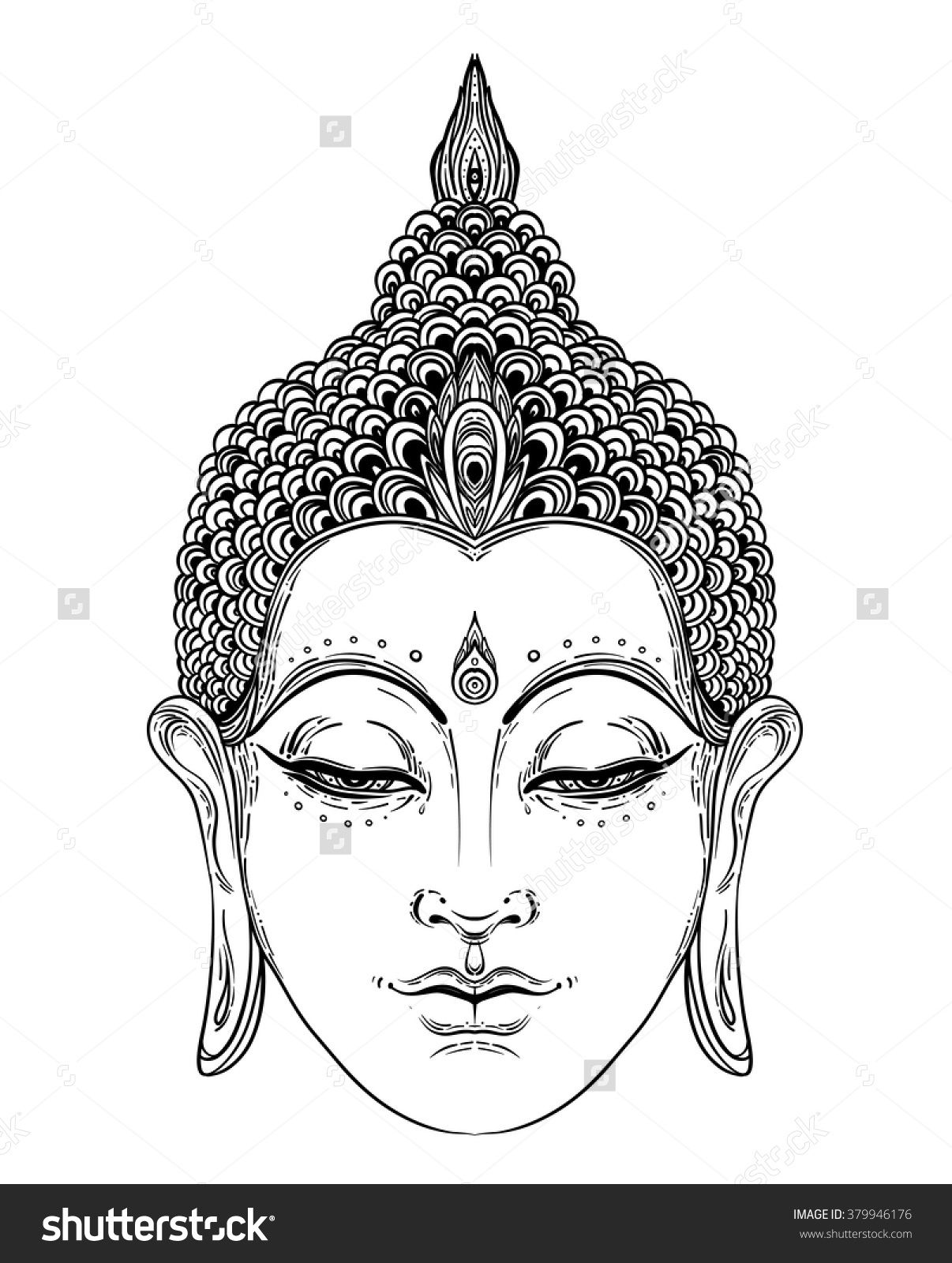 stock vector buddha face isolated on white esoteric vintage vector illustration indian buddhism. Black Bedroom Furniture Sets. Home Design Ideas