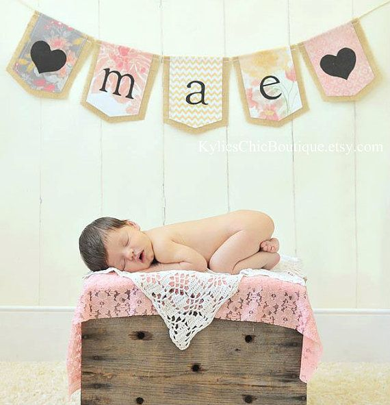 CUSTOM Burlap Banner Bunting Pennant Newborn Photo Prop Nursery Decoration Photography Studio Decoration Photo prop, Family Photo Prop