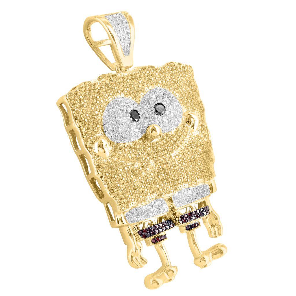 c3c3e39ce4910 Lab Diamond Yellow Gold Finish Spongebob Square Pants Pendant ...