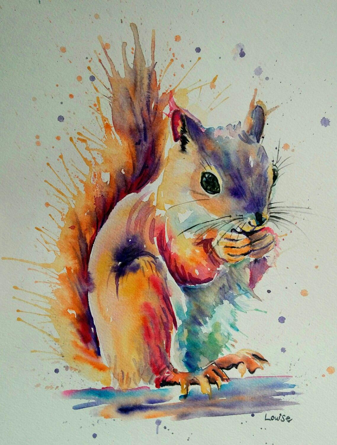 Watercolour Squirrel | Watercolors in 2019 | Watercolor ...