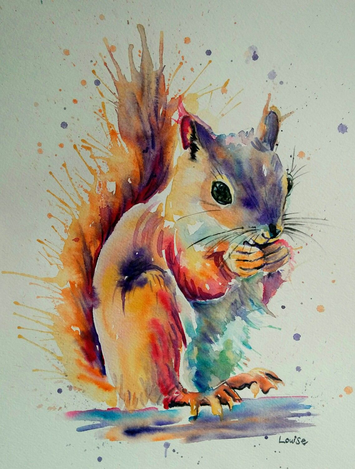 Watercolour Squirrel Squirrel Art Squirrel Painting Animal