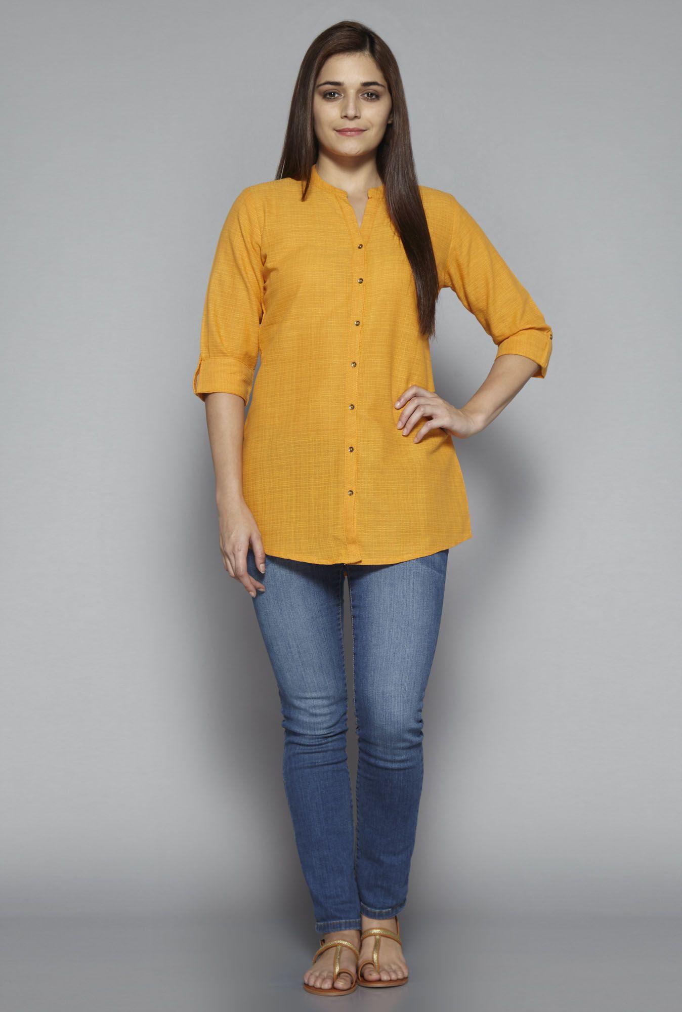 016a45ff2e7 Utsa by Westside Yellow Solid Kurti Neck Patterns For Kurtis