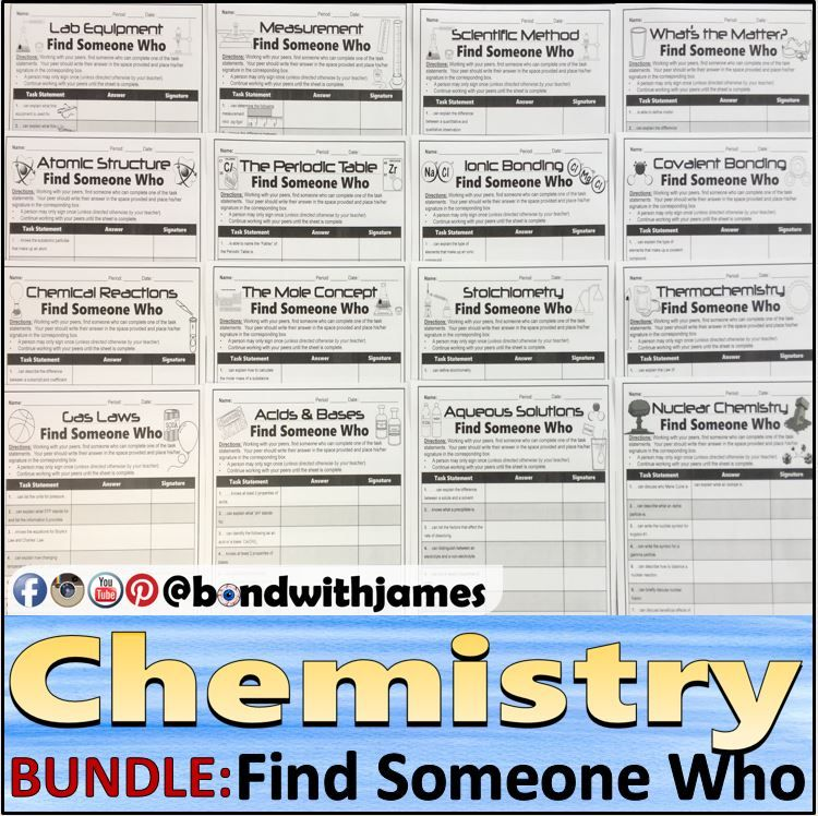 Chemistry Find Someone Who (Atoms, Periodic Table, Stoichiometry - new periodic table no. crossword
