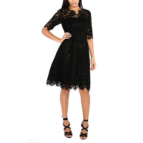 Buy True Decadence Lace Scallop Skater Dress, Black Online at johnlewis.com