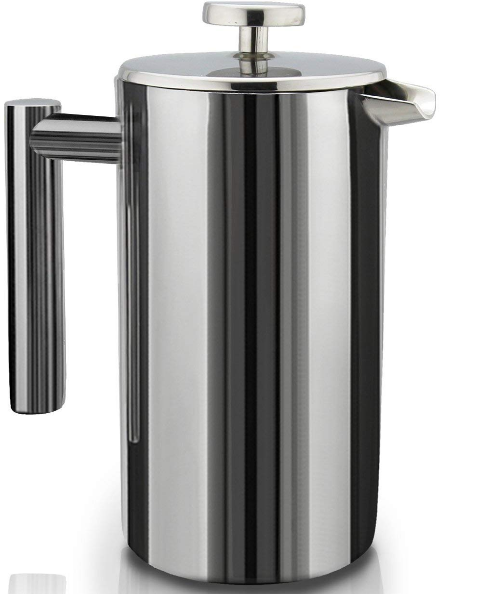 Amazon Com French Press Double Wall Stainless Steel Mirror Finish 1 75l Coffee Tea Maker Dou Camping Coffee Maker Stainless Steel French Press Coffee Press