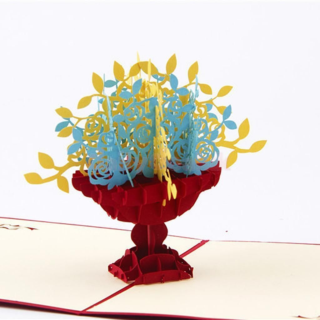 Handmade Wedding Invitation 3D Pop Up Flower Greeting Cards ...