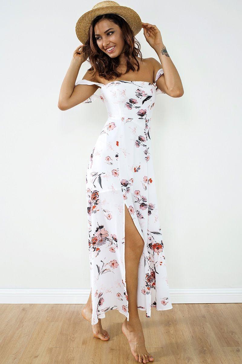 New beautiful long sleeveless white floral maxi summer dress women