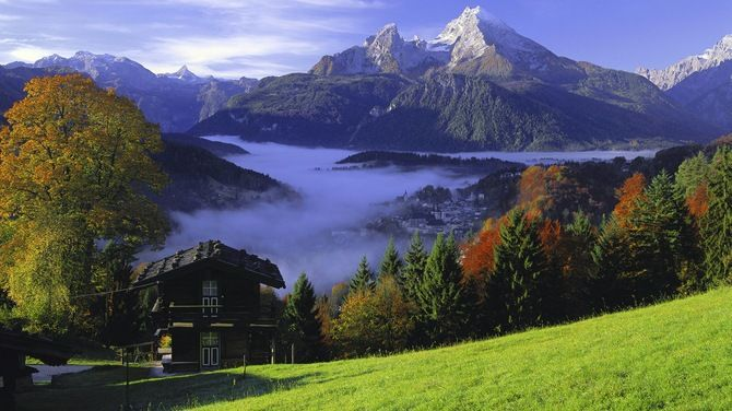 Изображение Туман, Дом, Bavaria, Осень, Germany, Горы. Природа ...