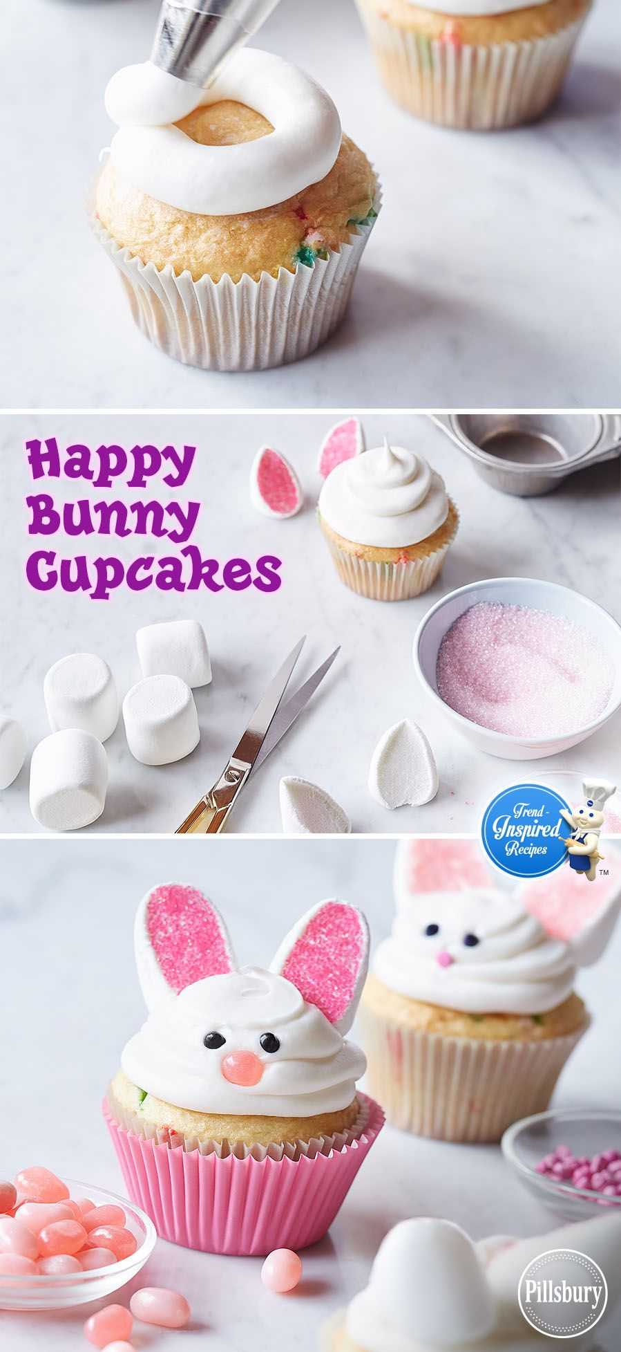 Happy Bunny Cupcakes Recipe Easter Dessert Easter Cupcakes