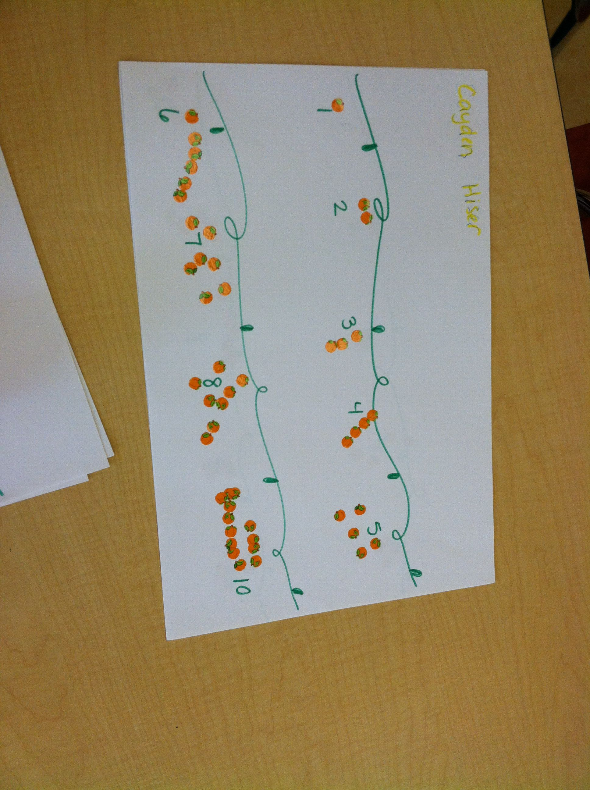 Pumpkin Patch Math Draw Two Vines And Write 1 10