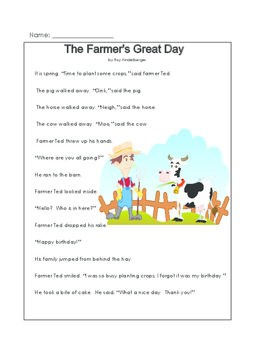 This Printable Story And Reading Prehension Worksheet