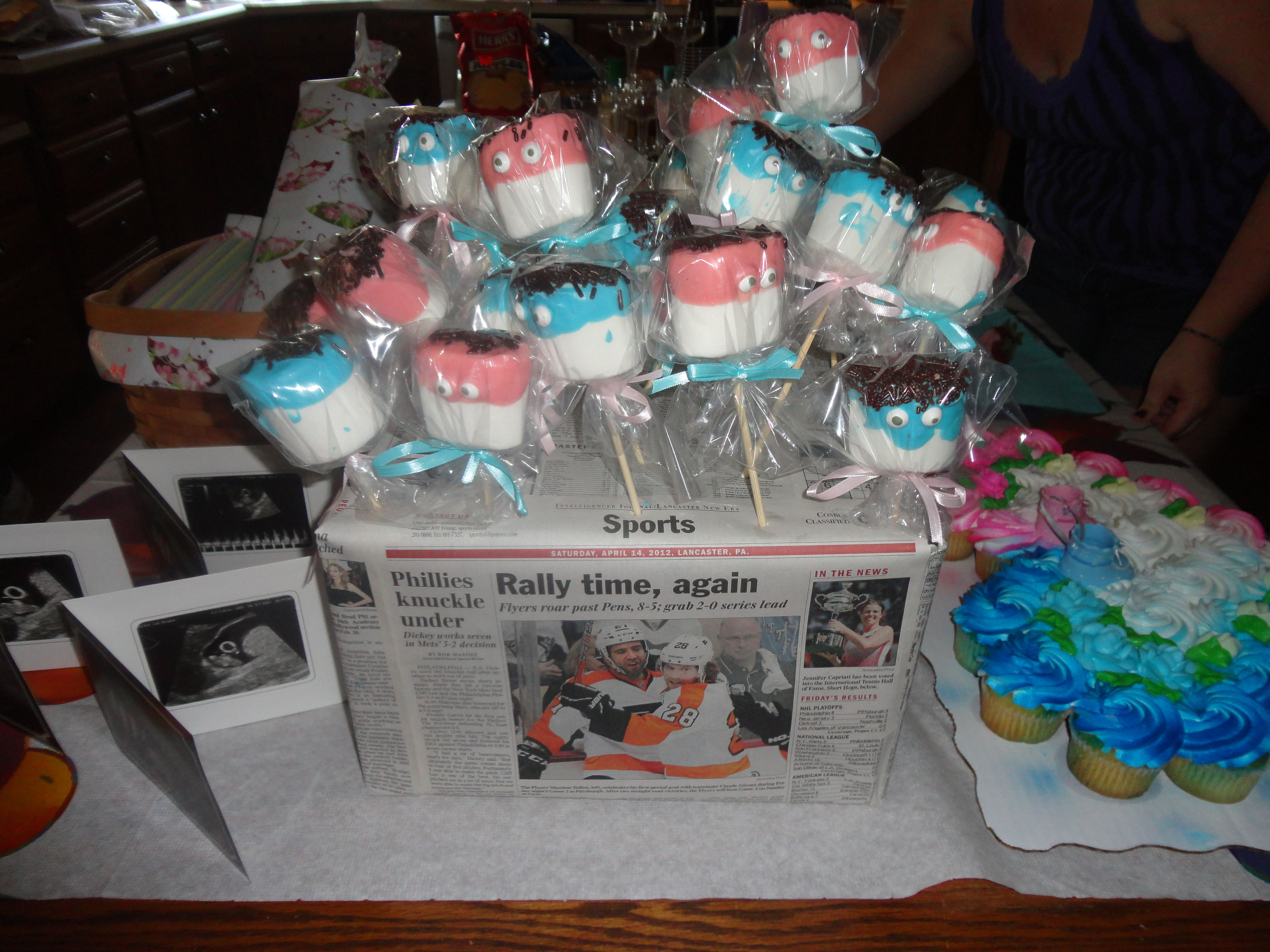 Chocolate covered Marshmallows perfect for a gender reveal party