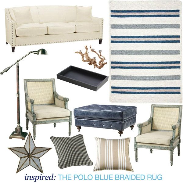 a blue and white striped rug gives your nautical themed