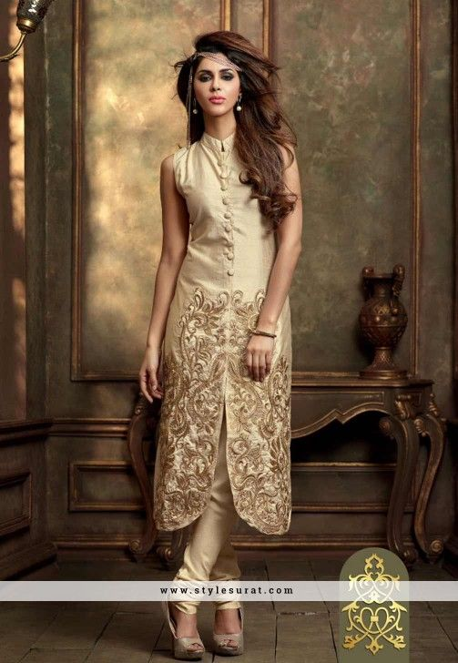 Cream Color Silk Designer Party Wear Pant Style Salwar Suit-34893 ...