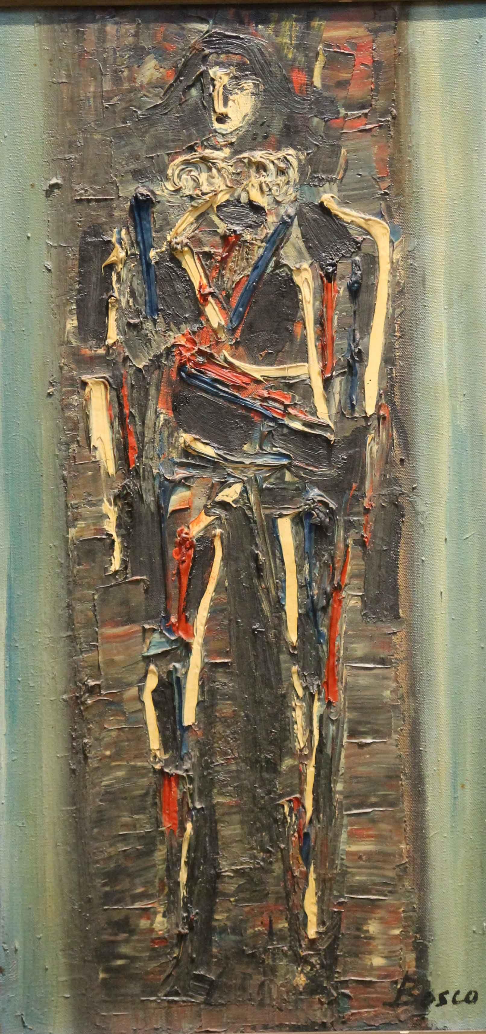 Pierre Bosco (1909-1993), Arlequin, huile sur toile, 60 x 31 cm ...