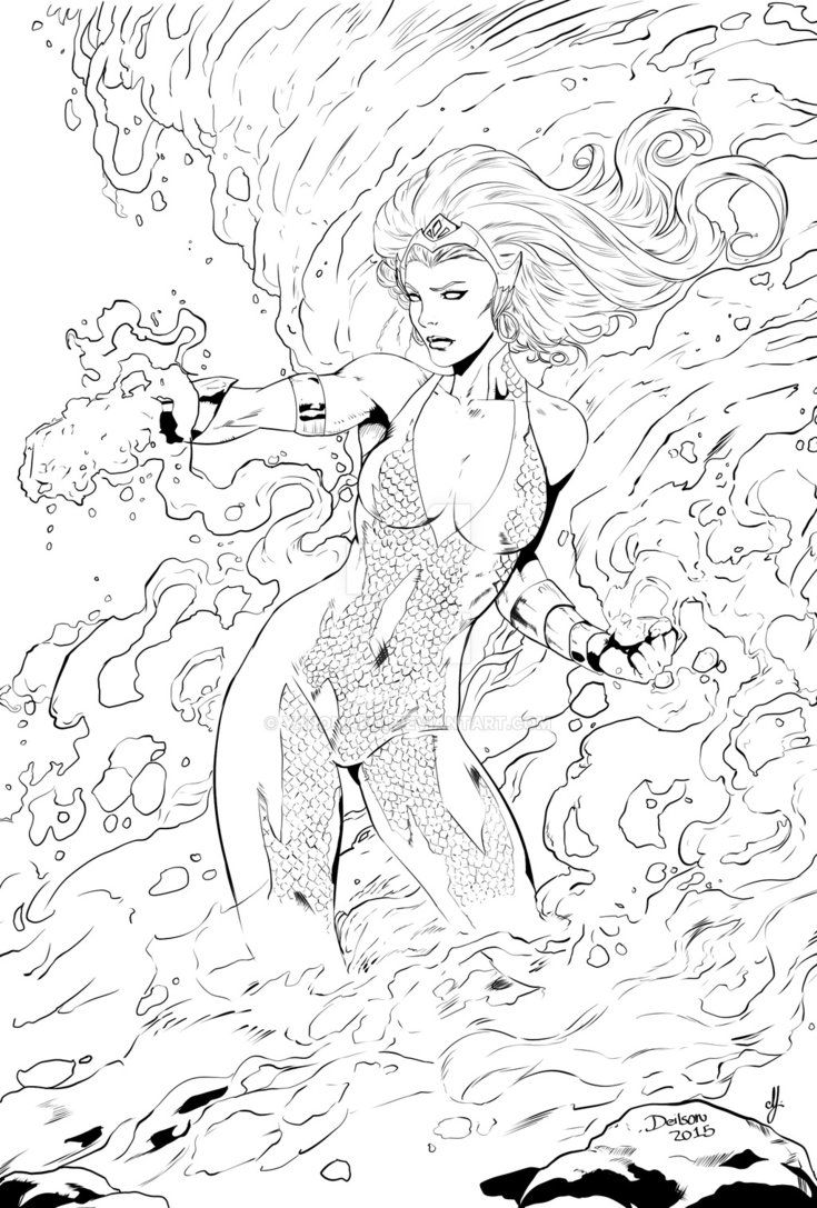 Mera Dc Comics Comic Colouring Page Mermaid Coloring Pages Mermaid Coloring Coloring Pictures