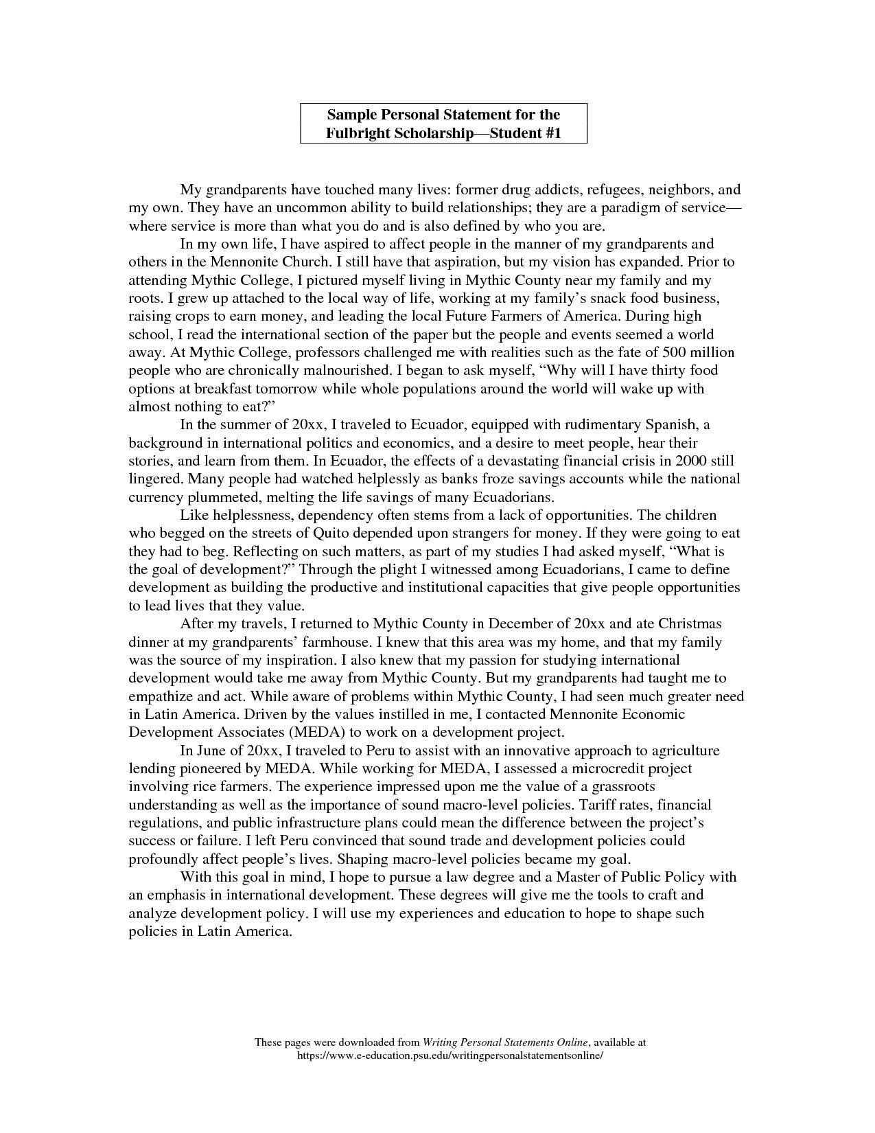 Personal Statement Scholarship Letter The John Marshall