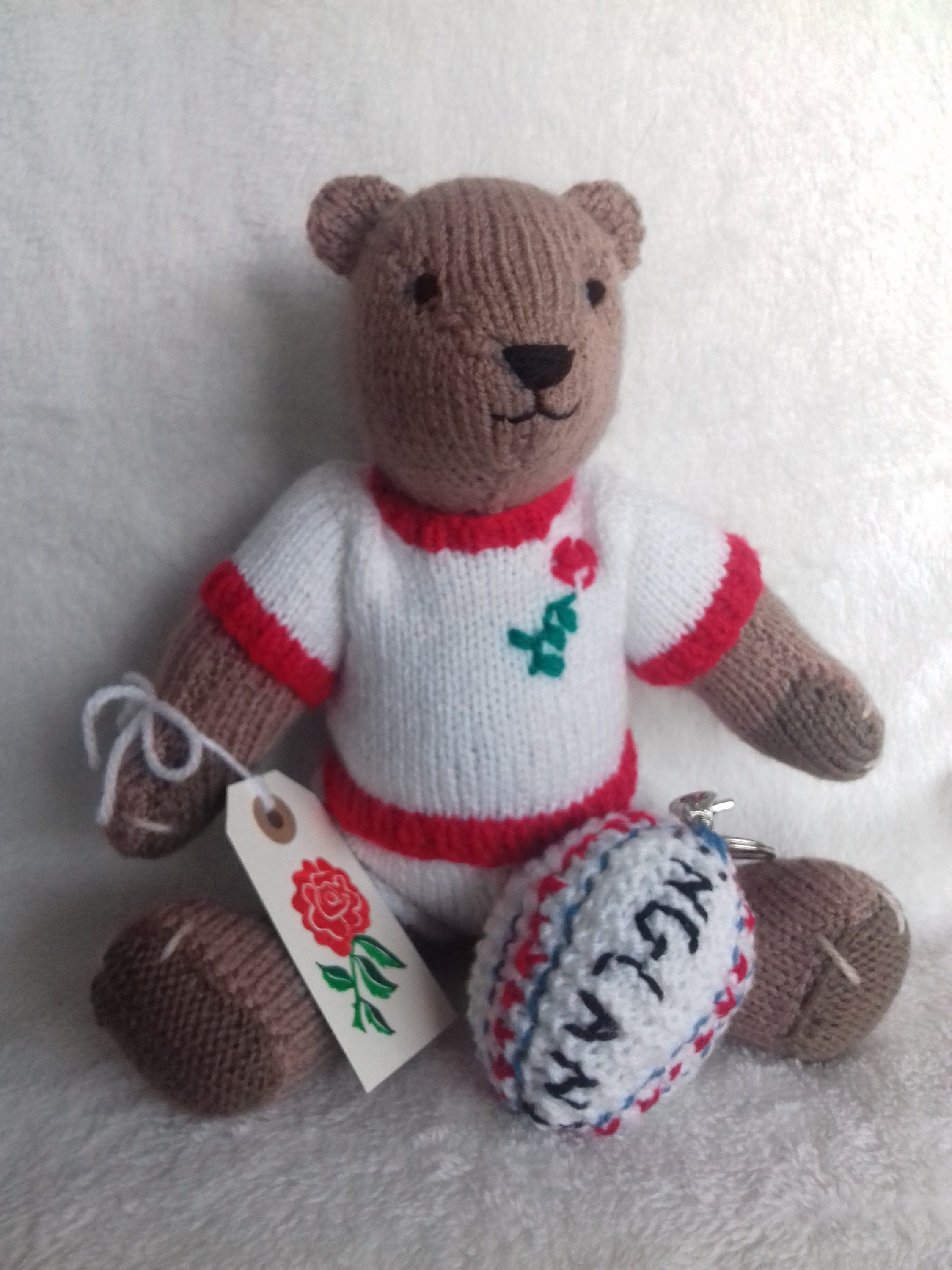 England Rugby Bear Unique Handmade Bear Sports Gifts Novelty Gifts Jointed Bear Rugby Fan Gifts Handmade Handmade Teddy Bears Novelty Gifts