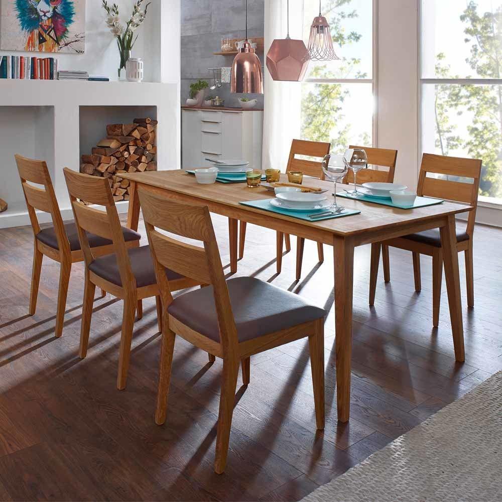 Esstisch mit Stühlen aus Wildeiche Massivholz Braun Kusntleder (7 ...