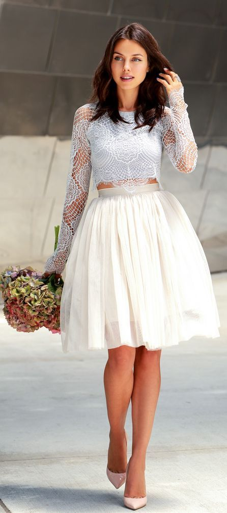 ff273b94a Victoria's Secret Style: Tulle midi skirt with lace crop top and nude pumps