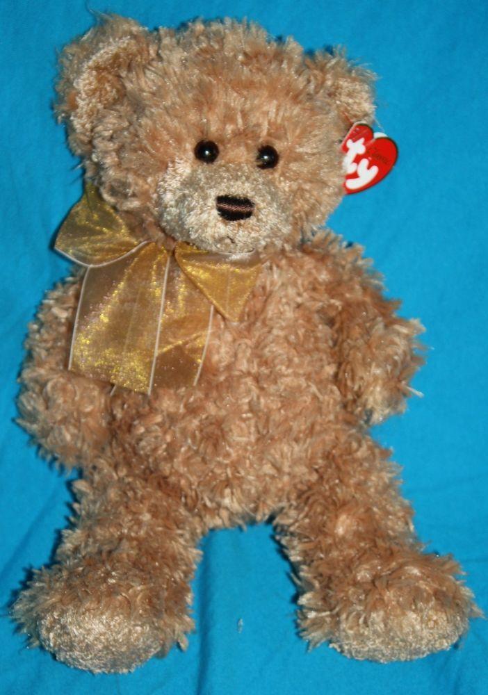 Ty Classic Pinwheel Bear Brown Plush Gold Bow 14 Quot 2007