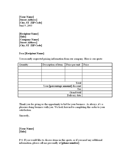 Letter with price quote on goods for existing customer – Customer Quote Template
