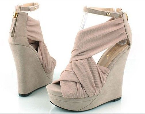 Silk surface slope sandals high-heeled shoes women shoes wedges light pink