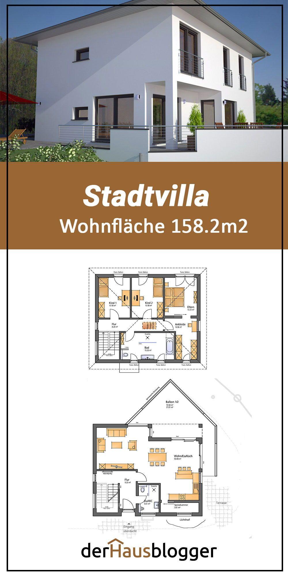 Der Bauherrenfamilie dieser gut 158m² großen Stadtvilla war es sehr   wichtig, dass sie trotz Hanglage einen großen, gut ausgerichteten   Terrassenbereich im Anschluss an den Wohnbereich des Erdgeschosses   erhalten. Mehr erfahren Sie hier. #house #houseplan  #grundriss  #hausbau #architektenhaus #hausplanung #ideen #tipps #stadtvilla   #hausplan #hauspläne #entwurf #einfamilienhaus #entwurfsplan #design #3d   #onlineshop