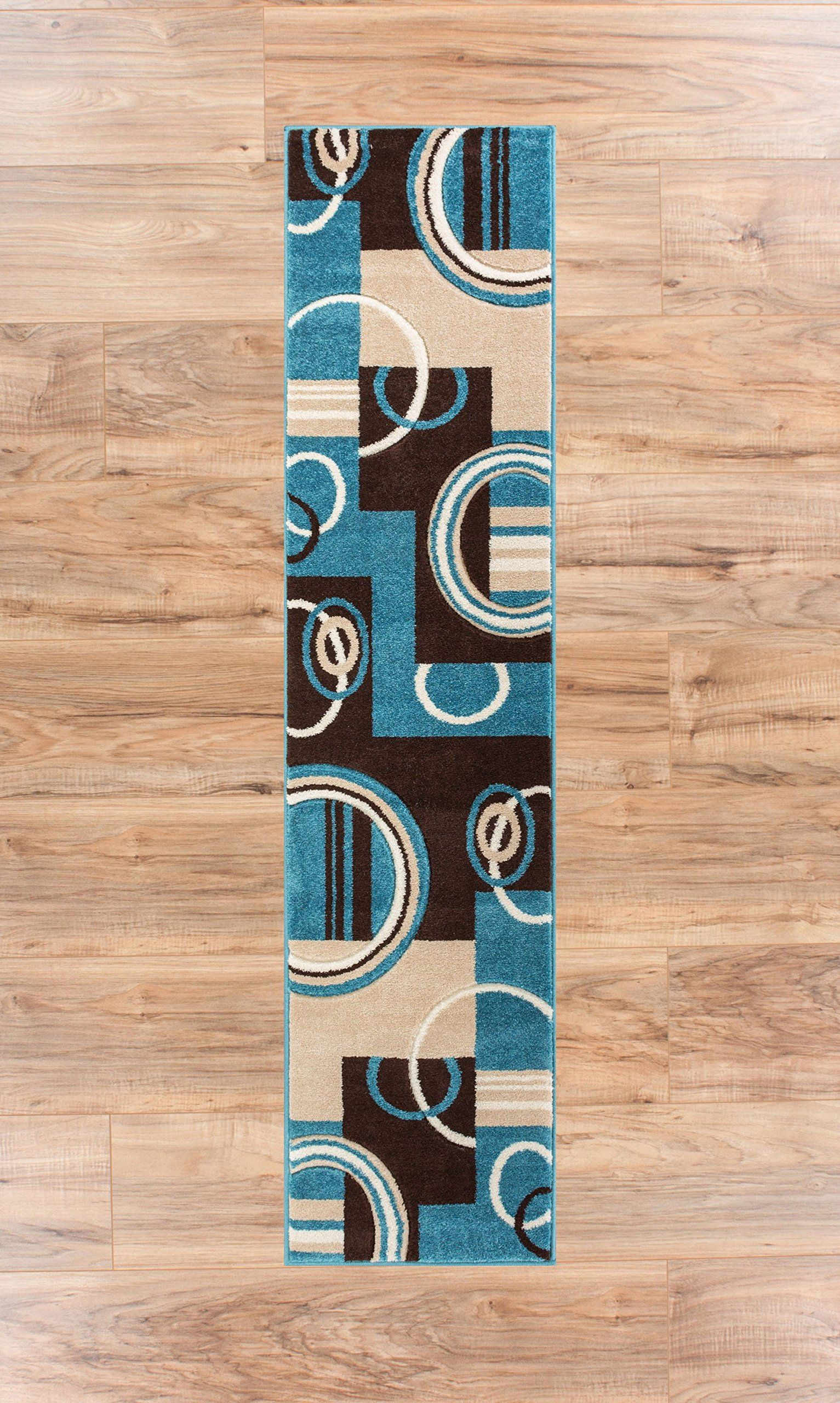 Echo Shapes Circles Blue Brown Modern Geometric Comfy Casual Hand Carved Runner Rug 2x7 2 X 7 Easy Clean Stain Fade Resistant Abstract