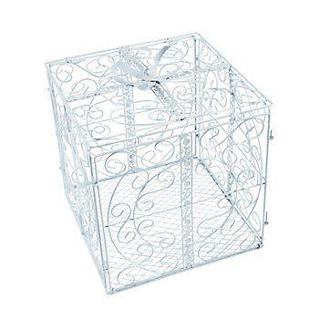 White Metal Gift Box Card Holder FX Amazon