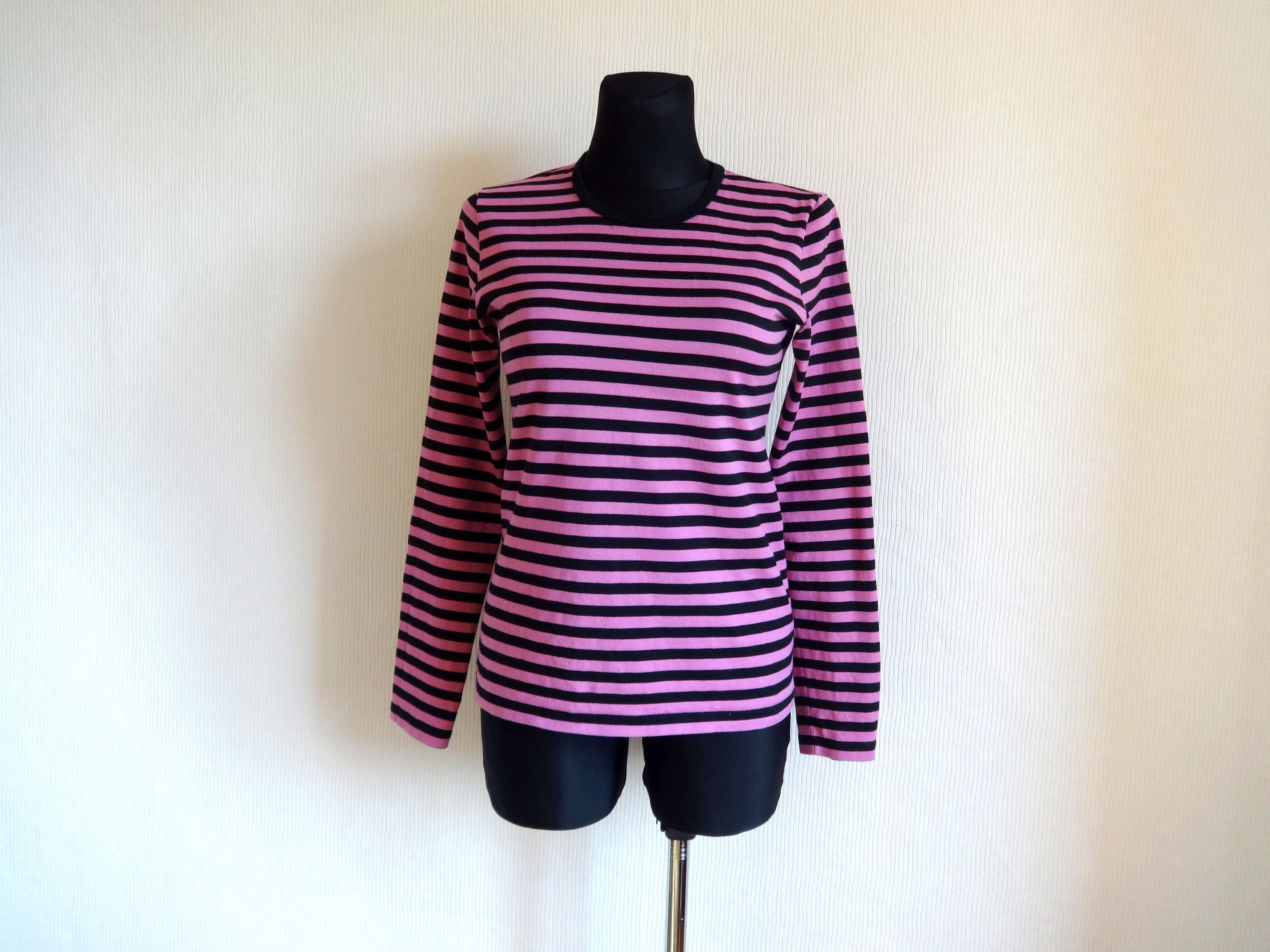 4cf9768d MARIMEKKO Pink & Black Striped Cotton Jersey Shirt Nautical Horizontal  Stripes Finnish Clothing Women's Top Long Sleeve Marimekko Clothing M by ...