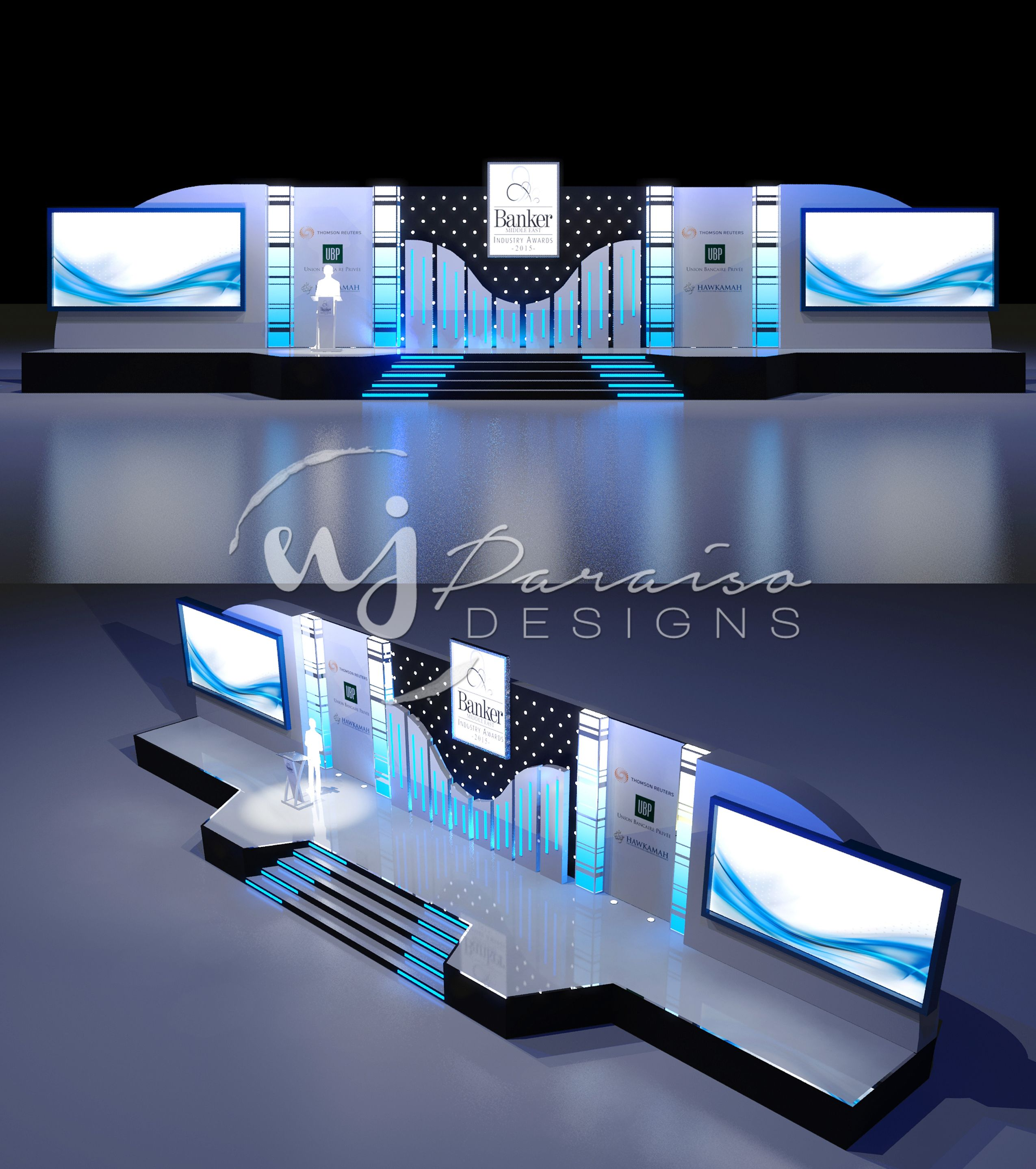 Proposed stage design for Banker Middle East Awards 2015