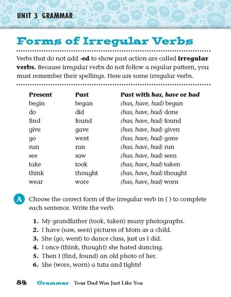 Forms Of Irregular Verbs Past Tense Worksheet For 2nd 4th Grade