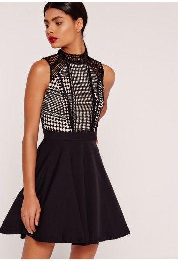 690542eb1c4c Lace Top Skater Dress Black