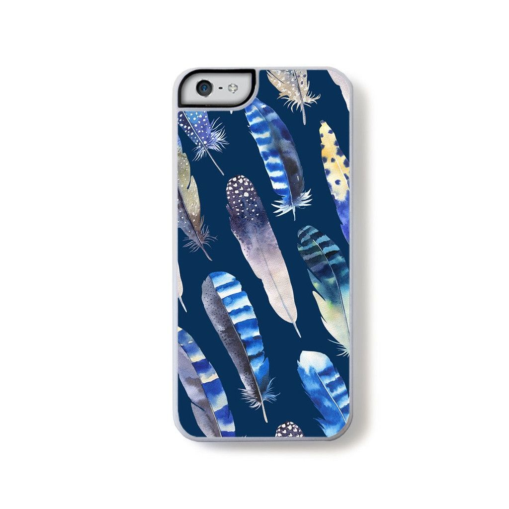 Boho chic feathers on dark blue for iPhone 5
