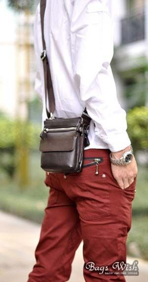 Mens Small Leather Messenger Bag
