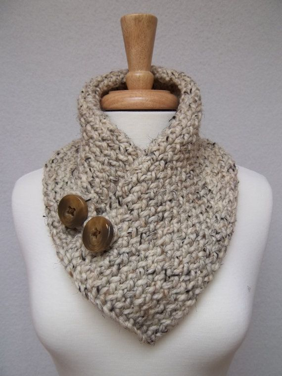 Cowl Knitted Oatmeal Buttoned Neck Warmer Scarflette Scarf ...