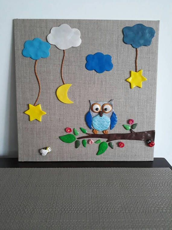 Canvas Painting Hibou In Fimo Decoration Children Room Birth
