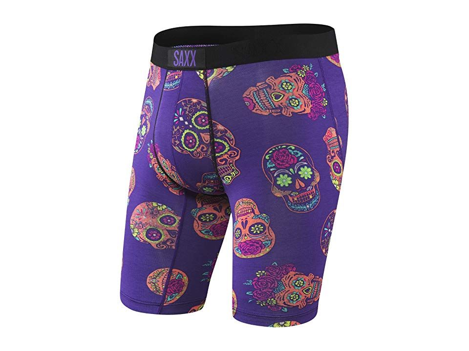 SAXX UNDERWEAR Vibe Long Leg Modern Fit (Purple Day of the Dead) Men's Underwear. Don't let anyone kill your vibe while donning SAXX Underwear Boxers. Longer-leg boxer brief crafted from a breathable stretch blend for all-day comfort. Modern fit is slightly slimmer through the seat and thighs. Three-D Fit uses nine panels to create 3D shaping around glutes  thighs  quads  and hamstrings. Flat Out Seams offer smooth  against-th